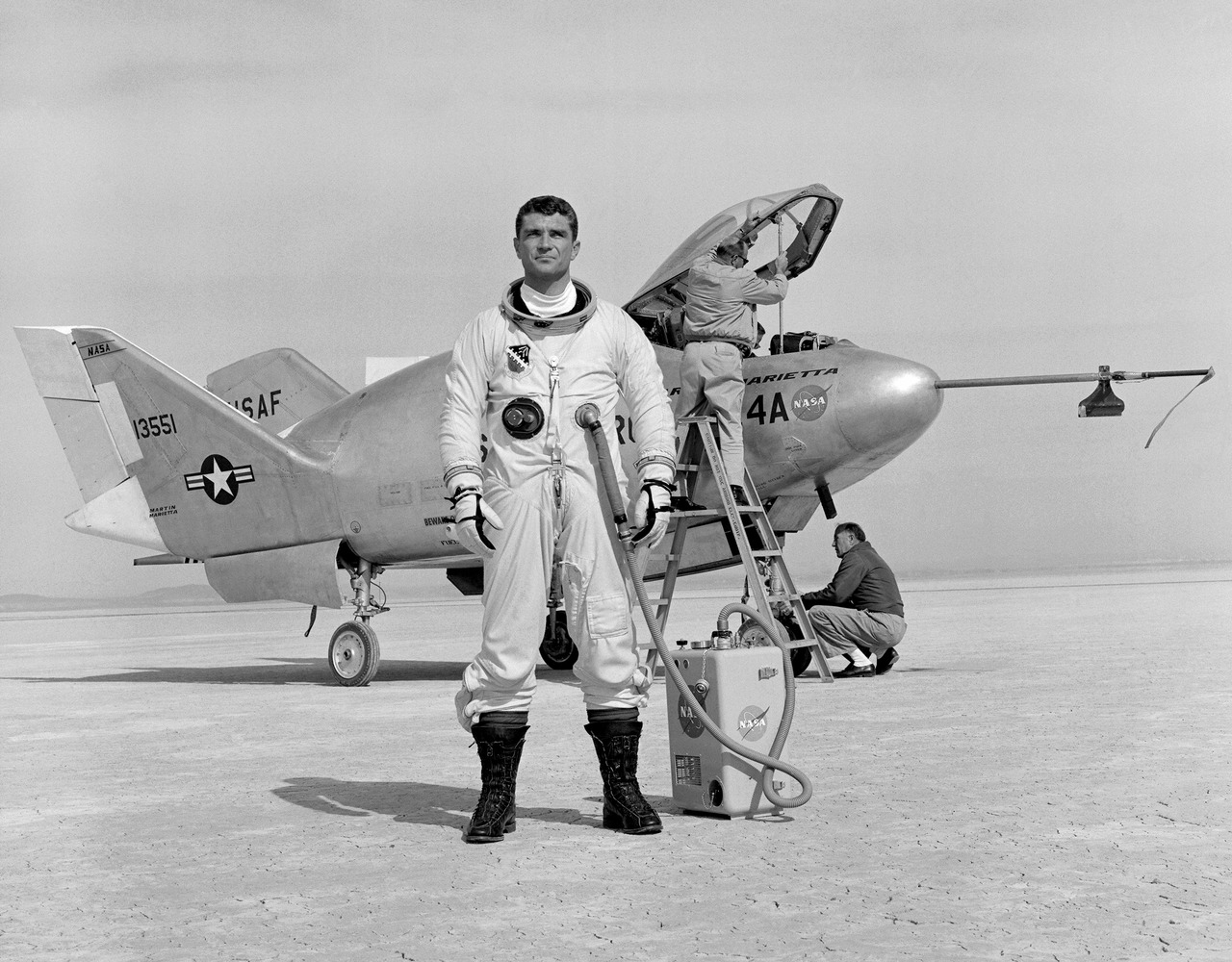 Pilot Major Cecil Powell and the X-24A on Lakebed